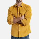 New Mens Chest Pockets Corduroy Casual Workwear Shirts