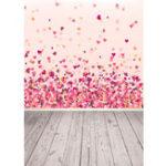 New 3x5FT Vinyl Valentine's Day Red Pink Heart Wood Floor Photography Backdrop Background Studio Prop