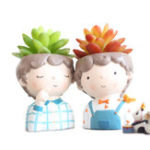 New ROOGO Flower Pot Curly Juvenile Flower Pot Resin Flower Pot Cartoon Garland Little Boy Desktop Decorations Potted Ornaments