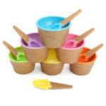 New 6PCS Children's Plastic Ice Cream Bowls Spoons Set Durable Ice Cream Cup Dessert Bowl