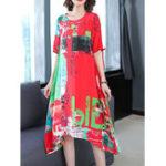 New Floral Print Irregular Hem Elegant Dress