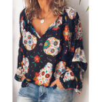 New Women V-neck Floral Print Chiffon Blouse