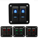 New 12V 24V 2 Gang IP65 Waterproof LED Car Marine Truck Boat RV Rocker Switch Panel