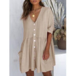 New Women Button Mini Dress