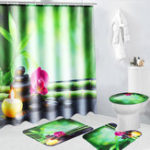 New 4Pcs 180x180cm Bamboo Pebbles Bathroom Shower Curtain with Hooks Toliet Cover Mat