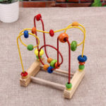 New  Wooden Math Toys Colorful Mini Around Beads Wire Maze Educational Toy
