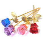 New Crystal Glass Golden Roses Flower Ornament Valentine Gifts Present with Box Home Decorations