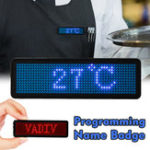 New LED Name Badge with Magnet and Pin Clip Scrolling Display Message Sign Dots Rechargeable Led Name Tag