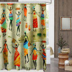 New Waterproof Bathroom Curtain Custom Distinctive Cartoon African Woman Pattern Bathroom Shower Curtain