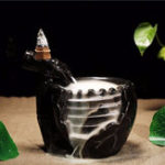 New Black Ceramic Waterfall Incense Burner Buddhist Backflow Censer Holder & 10 Cones