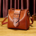 New Women Leisure Solid Shoulder Bag Oil Wax Crossbody Bag