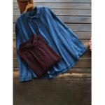 New Women Lapel Long Sleeve Button Back Stripe Blouse