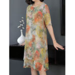 New Elegant Floral Print Vintage Layered Dress