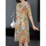 New Elegant Floral Print Vintage Layered Dress