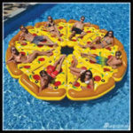 New Water Fun Sports Beach Toy Inflatable Float Pizza Riding Swimming Ring Buoyancy Board PVC For Kids Adult