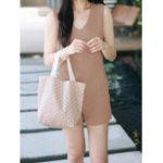 New Women Casual Sleeveless Sides Pockets V-Neck Vest Jumpsuit