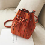 New Women Faux Leather Striped Bucket Bag Shoulder Bag