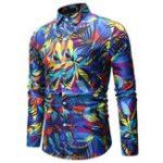 New Mens Colorfull Printing Slim Fit Long Sleeve Shirts