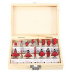 New 15pcs 1/4 Inch Shank Router Bit Set Woodworking Milling Cutter with Wood Case
