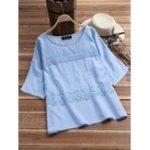 New Plus Size Elegant Embroidery O-neck Women Cotton Blouse