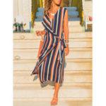 New Women Sleeveless V-neck Stripe Long Shirt Dress