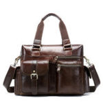 New Men Genuine Leather Vintage Travel Business Handbag