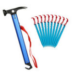 New 11 PCS Lightweight Peg Hammer Charminer + Tent Pegs Outdoor Hiking Climbing Camping Tent Tools
