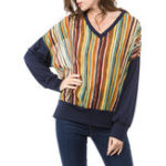 New Women Casual Striped V-Neck Long Sleeve Blouse