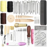 New 49Pcs Leather Craft Punch Carving Tool Stitching Carving Working Sewing Saddle DIY Kits