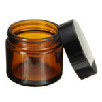 New 60ml Brown Amber Glass Jar Round Empty Black Lid Cream Balm Jar Storage Container