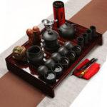 New Chinese Kung Fu Tea Making Tools Tea Set Porcelain Teapot Pot Cup Elegant Kettle Wood Holder Tray