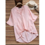 New Short Sleeve V-neck Solid Color Irregular Hem Blouse