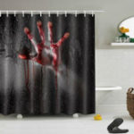 New Halloween Horror Bloody Hands Waterproof Bath Shower Curtains Bathroom Decor
