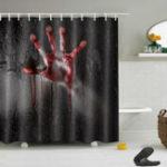 New Halloween Horror Bloody Hands Waterproof Bath Shower Curtains Bathroom Decor
