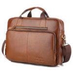 New Men Genuine Leather Vintage Handbag Computer Bag