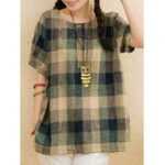New Women Casual Plaid Cotton Linen Short Sleeve T-Shirts