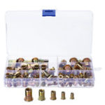 New 120Pcs Flat Head Insert Nutsert Mixed Nuts Tool Kit Rivet Assortment Set