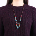 New Ethnic Handmade Women's Long Necklace Ceramic Drop Tassel Pendant Vintage Sweater Necklace for Her