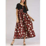 New Women Polka Dot Patchwork Short Sleeve Maxi Dress