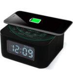 New Wireless USB Charging Port Black Alarm Clock Hands-Free Radio Bluetooth Speaker For Bedrooms