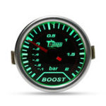 New Chrome Ring 52mm 2 Inch Green LED BAR Turbo Pressure Boost Gauge Smoked Dial Face Vacuum Pipe