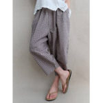 New Women Elastic Waist Plaid Cropped Pants