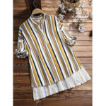 New Women Vintage Stripe Crew Neck Half Sleeve Irregular Blouse