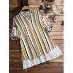 New Women Vintage Stripe Crew Neck Half Sleeve Irregular Blouse