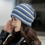 New Men And Women Outdoor Riding Striped Beanie Hat Collar