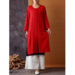 New Retro Women Chinese Style Cotton Linen Split Hem Cardigans