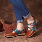 New SOCOFY Hook Loop Genuine Leather Pattern Flat Sandals