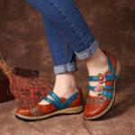 New SOCOFY Hook Loop Genuine Leather Pattern Flat Sandals