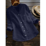 New Women Casual Cotton Solid Color V-Neck Button Blouse