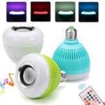 New AC100-240V E27 Colorful Home Bluetooth LED Music Globe Light Bulb + 24Keys IR Remote Control
